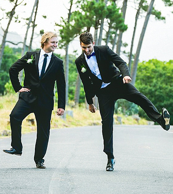 Wedding with silly pose
