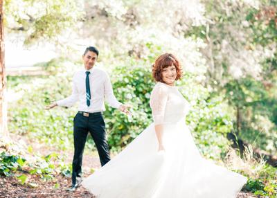 bride and groom walking away shot wedding