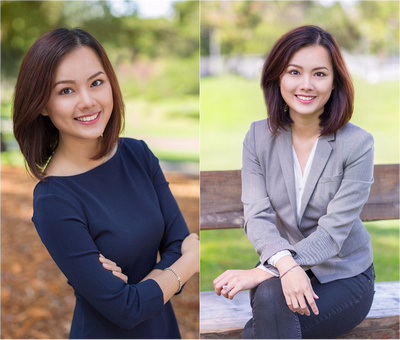 woman with blue shirt and gray jacket posing for headshot executive portrait