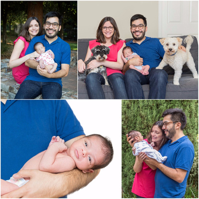 Family of three for a newborn baby photography session at home