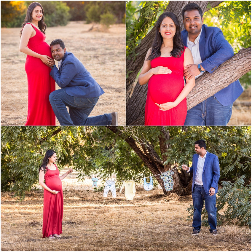 collage maternity woman in red dress