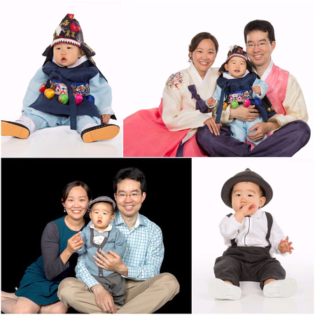 Family wearing korean costume with white and black background