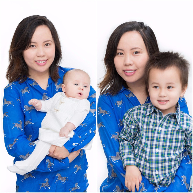 mother and children portrait against white backdrop
